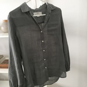 Cute button up collared Ramie shirt from Anthro
